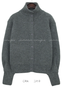 WOOL 50% HIGH NECK KNIT CARDIGAN