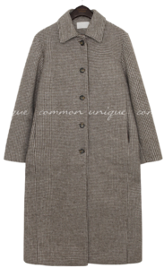 CAND WOOL HOUND CHECK LONG COAT