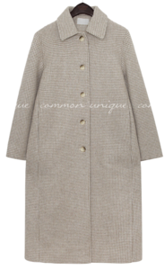 CAND WOOL HOUND CHECK LONG COAT coat