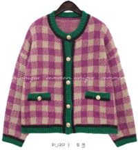 ANTREE CHECK KNIT CARDIGAN