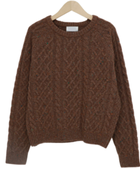 Cross cable wool knit_H (size : free) 針織衫