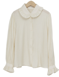 Silky shirring collar blouse_J