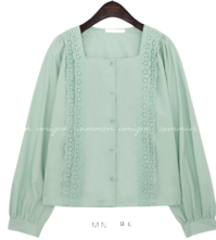 LACE SQUARE NECK COTTON BLOUSE