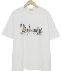 Newyork printing cotton T_J (size : free) Short Sleeve