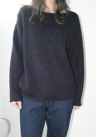 natural boat-neck knit (3colors)