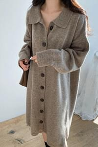 Heather collar long dress & cardigan *, surprise