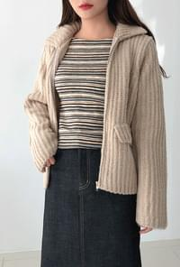 Modern knit wool zip up