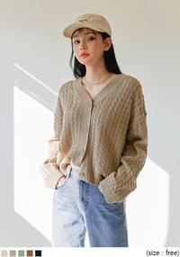 BOLLEN TWIST V NECK KNIT CARDIGAN