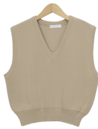 Plain v-neck knit vest_A (size : free)