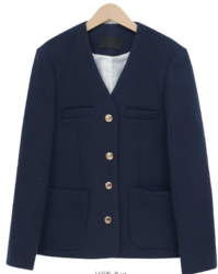 Lack collarless wool jacket_J (size : free)