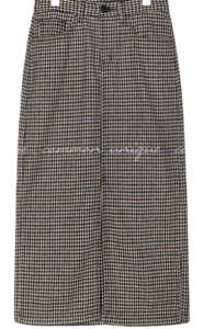 LYRA WOOL CHECK SLIT LONG SKIRT