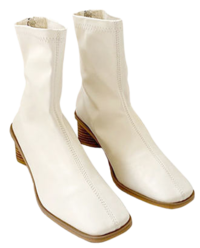 Square wood ankle ankle boots