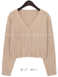 DRAW TWIST CROP KNIT CARDIGAN