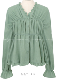 KARON FRILL WRAP BUTTON BLOUSE
