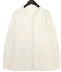 PINA UNBAL FRILL V NECK BLOUSE
