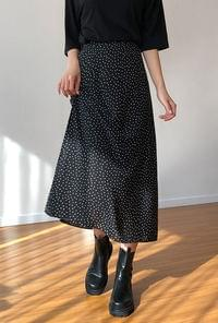 Dot Long Back Bending Skirt