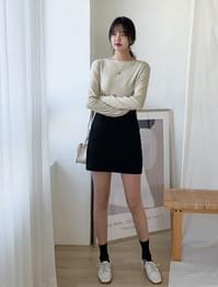 Semi-A Line Cotton Mini Skirt