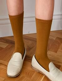 Color simple long socks_C (size : one)