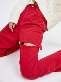 cutting color jeans - woman