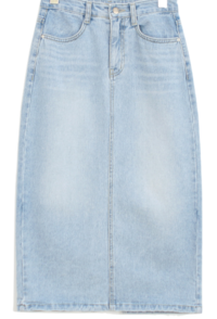 Back trim denim skirt