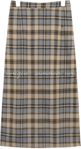 LOKONE CHECK BANDING LONG SKIRT
