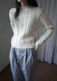 natural wool cable knit (2colors)
