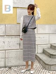 Maple check long skirt (size : S,M)