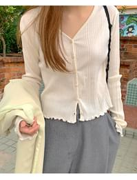 Waving slim button cardigan_J (size : free)