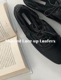 Shirred lace-up loafers