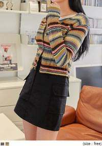 COLOR MIX STRIPE KNIT CARDIGANWITH CELEBRITY _ 낸시(모모랜드) 착용