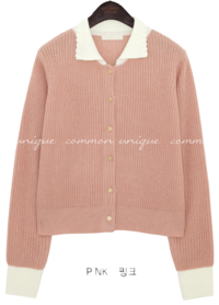 COLORING COLLAR KNIT CARDIGAN