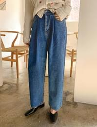 Pintuck denim banding pants_U