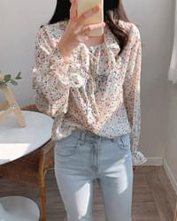Oil painting flower chiffon blouse-3color