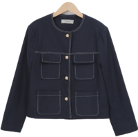 Stitch pocket round jacket
