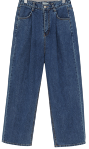 Pintuck denim banding pants_U (size : free)