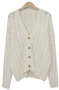 Cable loose button cardigan_A