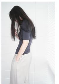 slim tension half sleeve pola top