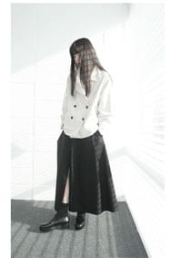 front slit cotton skirt