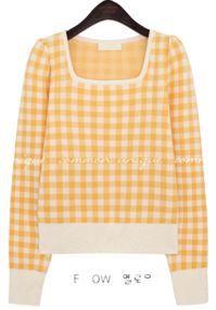 SSOEL CHECK SQUARE NECK KNIT