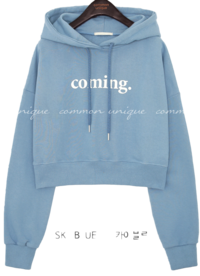 COMING LETTERING CROP HOOD T Long Sleeve