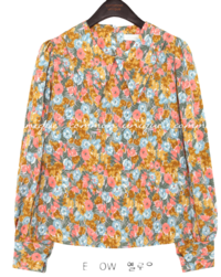 SELENI FLOWER SHARP COLLAR BLOUSE