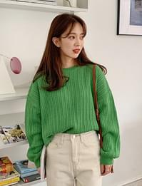 Plant loose round knit_Y (size : free)