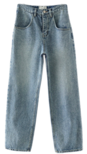 straight natural denim pants