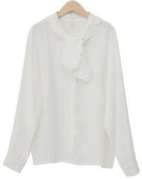 Frill neck button blouse_U