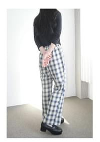 lazy check pattern banding pants (2colors)