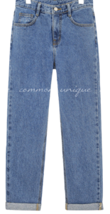 ROLL UP SEMI BAGGY DENIM PANTS