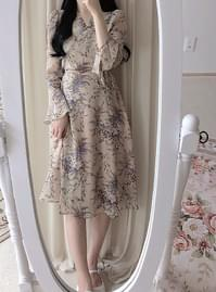 Lantern Flower Wrap Long Dress