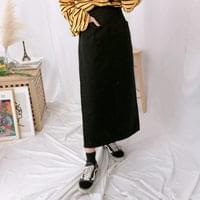 715 pocket long cotton skirt