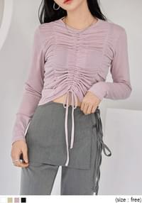 BONITO SHIRRING STRING CROP T