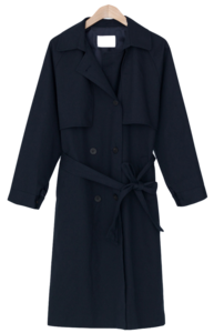 Double-button loose-fit trench coat